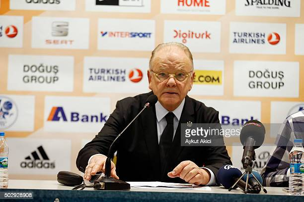 Dusan Ivkovic Head Coach of Anadolu Efes Istanbul answers questions from the media at press conference prior to the Turkish Airlines Euroleague...