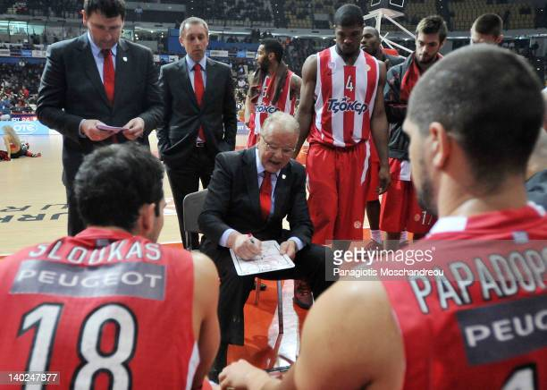 Dusan Ivkovic Head Coach of Olympiacos Piraeus gives directions to his players during 20112012 Turkish Airlines Euroleague TOP 16 Game Day 6 between...