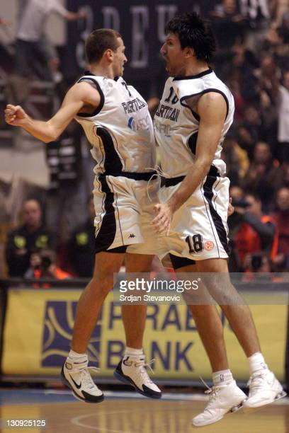 Dusan Kecman and Predrag Drobnjak from Partizan celebrates victory against Lottomatica Roma in 8th round Euroleague basketball game in Belgrade on...