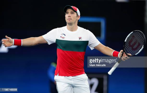 Dusan Lajović of Serbia celebrates winning match point during his semi-final singles match against Karen Khachanov of Russia during day nine of the...