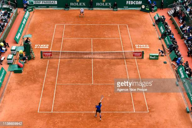 Dusan Lajovic of Serbia and Fabio Fognini of Italy Illustration General View during the 2019 Monte Carlo Rolex Masters 1000 day one on April 21 2019...