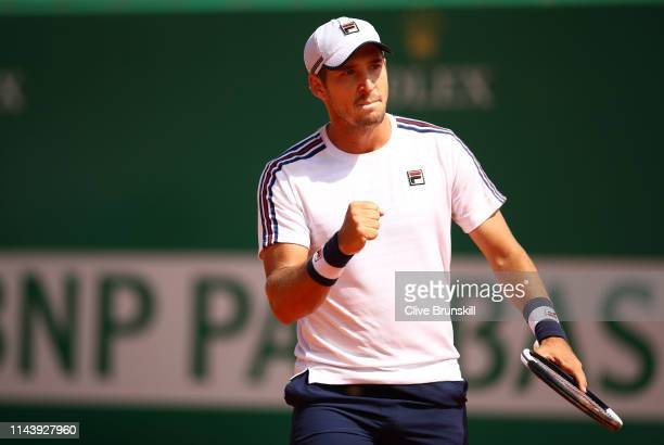 Dusan Lajovic of Serbia celebrates a point against Daniil Medvedev of Russia in their semifinal match during day seven of the Rolex MonteCarlo...
