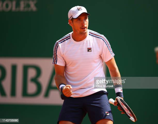 Dusan Lajovic of Serbia celebrates a point against Lorenzo Sonego of Italy in their quarter final match during day six of the Rolex MonteCarlo...