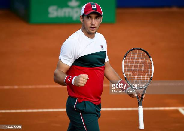 Dusan Lajovic of Serbia celebrates after winning a match against Pedro Martinez of Spain during day 3 of ATP Buenos Aires Argentina Open at Buenos...