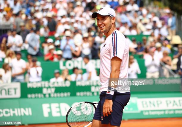 Dusan Lajovic of Serbia celebrates match point against Daniil Medvedev of Russia in their semifinal match during day seven of the Rolex MonteCarlo...