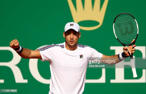 Dusan Lajovic of Serbia celebrates match point against Dominic Thiem of Austria in their third round match during day five of the Rolex MonteCarlo...