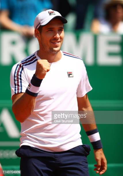 Dusan Lajovic of Serbia celebrates to the crowd after his straight set victory against Lorenzo Sonego of Italy in their quarter final match during...