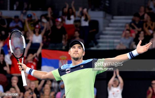 Dusan Lajovic of Serbia celebrates victory in his match against Llyod Harris of South Africa during day two of the 2020 ATP Cup Group Stage at Pat...