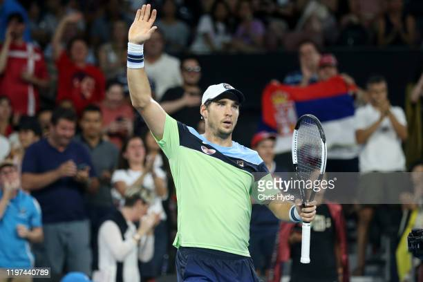 Dusan Lajovic of Serbia celebrates winning his match against Lloyd Harris of South Africa during day two of the 2020 ATP Cup Group Stage at Pat...