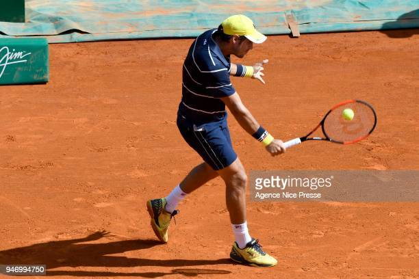 Dusan Lajovic of Serbia during the Monte Carlo Rolex Masters 1000 at Monte Carlo on April 16 2018 in Monaco Monaco