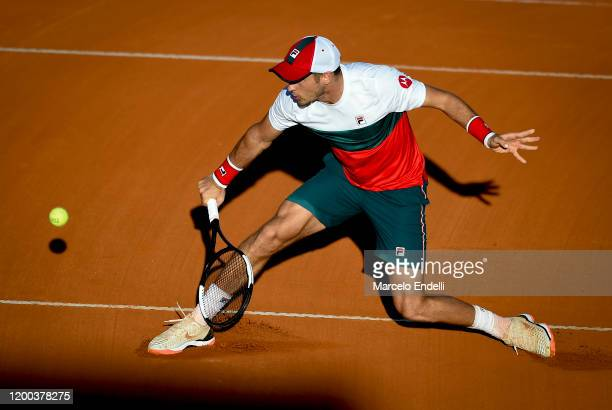 Dusan Lajovic of Serbia hits a backhand during his Men's Singles match against Pedro Martinez of Spain during day 3 of ATP Buenos Aires Argentina...