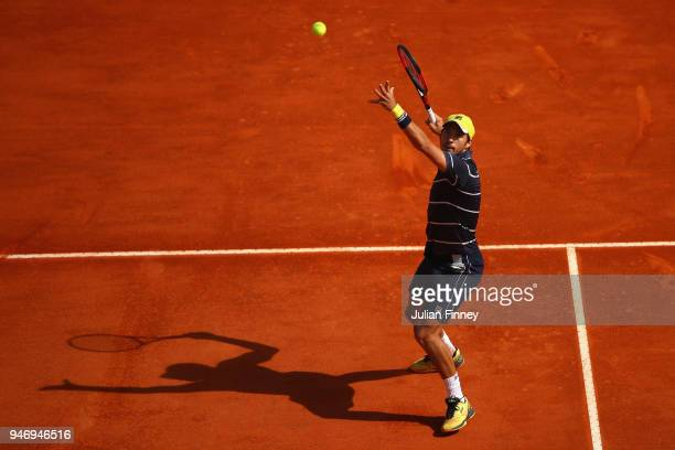 Dusan Lajovic of Serbia in action in his singles match against Novak Djokovic of Serbia during day two of ATP Masters Series Monte Carlo Rolex...