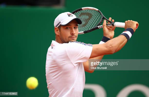 Dusan Lajovic of Serbia plays a backhand against Fabio Fognini of Italy in the men's singles final during day eight of the Rolex MonteCarlo Masters...