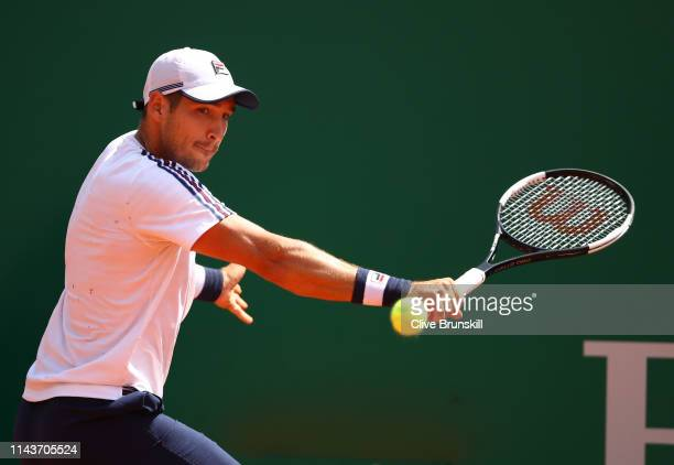 Dusan Lajovic of Serbia plays a backhand against Lorenzo Sonego of Italy in their quarter final match during day six of the Rolex MonteCarlo Masters...