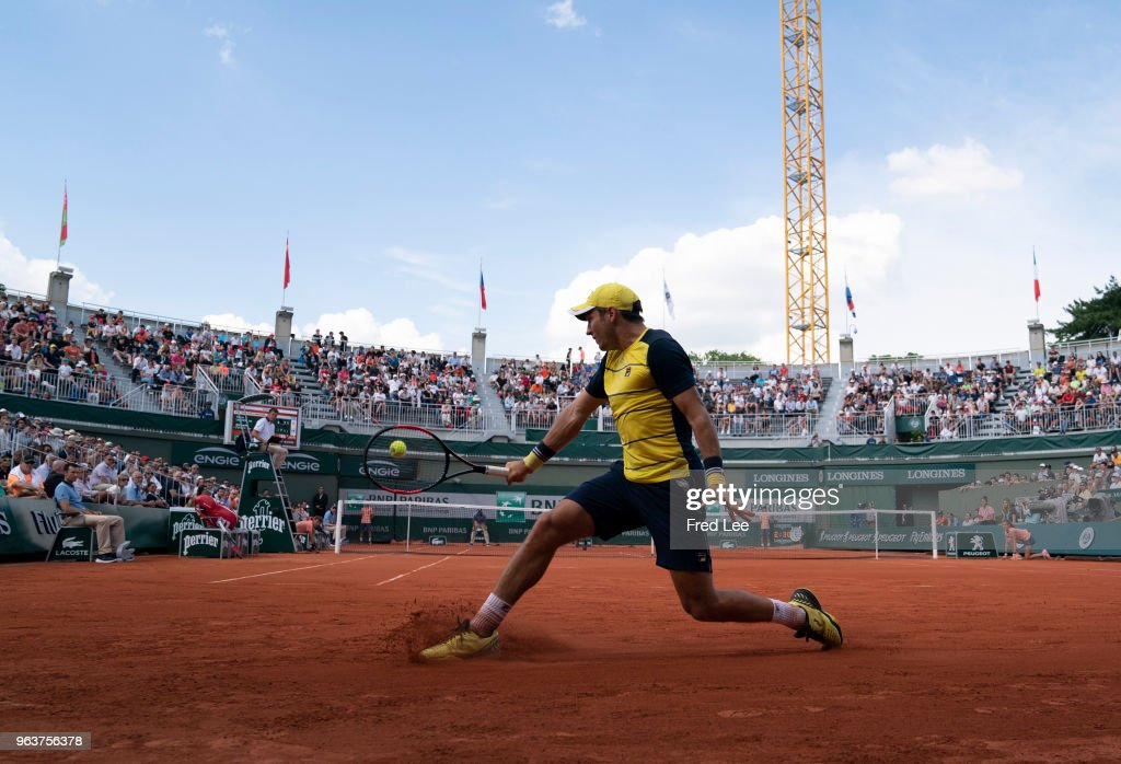Dusan Lajovic of Serbia plays a backhand during the mens singles second round match against Alexander Zverev of Germany during day four of the 2018 French Open at Roland Garros on May 30, 2018 in Paris, France.