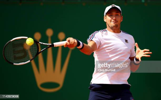 Dusan Lajovic of Serbia plays a forehand against Daniil Medvedev of Russia in their semifinal match during day seven of the Rolex MonteCarlo Masters...
