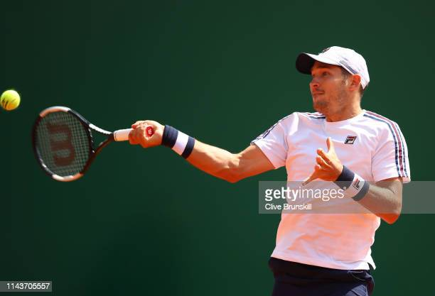 Dusan Lajovic of Serbia plays a forehand against Lorenzo Sonego of Italy in their quarter final match during day six of the Rolex MonteCarlo Masters...