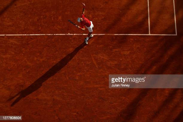 Dusan Lajovic of Serbia plays a forehand during his Men's Singles second round match against Kevin Anderson of South Africa on day five of the 2020...