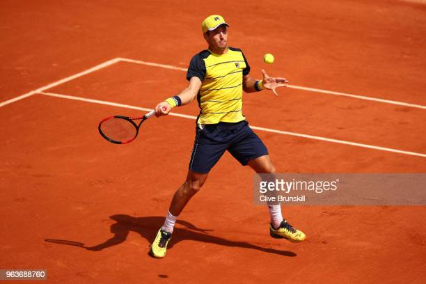 Dusan Lajovic of Serbia plays a forehand during the mens singles second round match against Alexander Zverev of Germany during day four of the 2018...