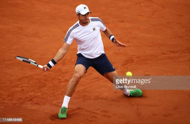 Dusan Lajovic of Serbia plays a forehand in the final qualifying round against Dan Evans of Great Britain during day one of the Internazionali BNL...
