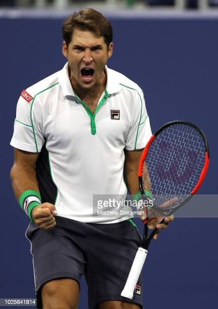 Dusan Lajovic of Serbia reacts during his men's singles third round match against John Isner of the United States on Day Five of the 2018 US Open at...