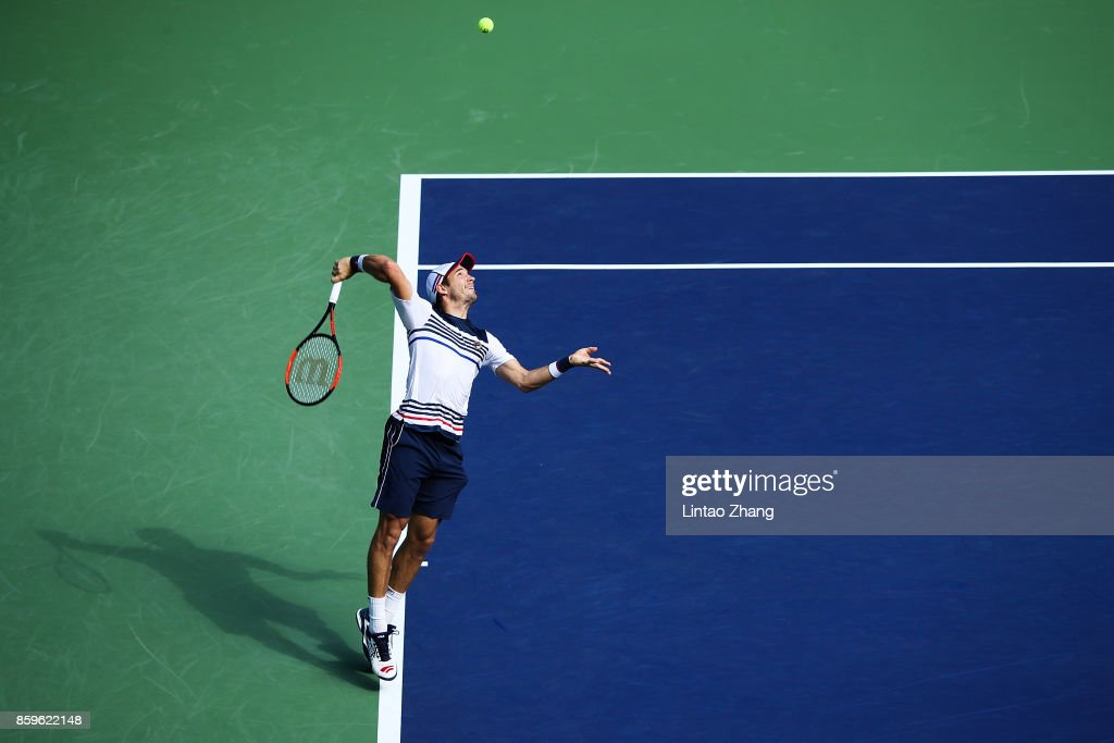 Dusan Lajovic of Serbia returns a shot during the Men's singles mach against John Isner of the United States on day three of 2017 ATP Shanghai Rolex Masters at Qizhong Stadium on October 10, 2017 in Shanghai, China.
