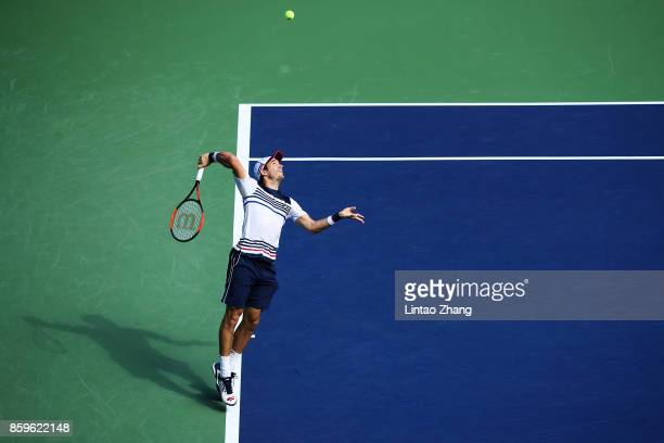 Dusan Lajovic of Serbia returns a shot during the Men's singles mach against John Isner of the United States on day three of 2017 ATP Shanghai Rolex...