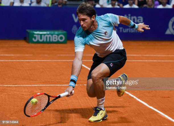 Dusan Lajovic of Serbia takes a backhand shot during a second round match between Dusan Lajovic of Serbia and Gael Monfils of France as part of ATP...