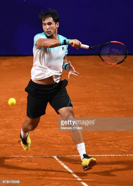 Dusan Lajovic of Serbia takes a forehand shot during a second round match between Dusan Lajovic of Serbia and Gael Monfils of France as part of ATP...