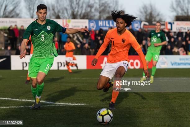 Dusan Stojinovic of Slovenia U19 Joshua Zirkzee of Holland U19 during the Elite round Group 4 match between Holland U19 v Slovenie O19 at the...