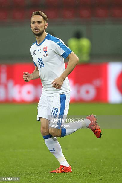Dusan Svento of Slovakia looks on during the international friendly match between Slovakia and Latvia held at Stadion Antona Malatinskeho on March 25...