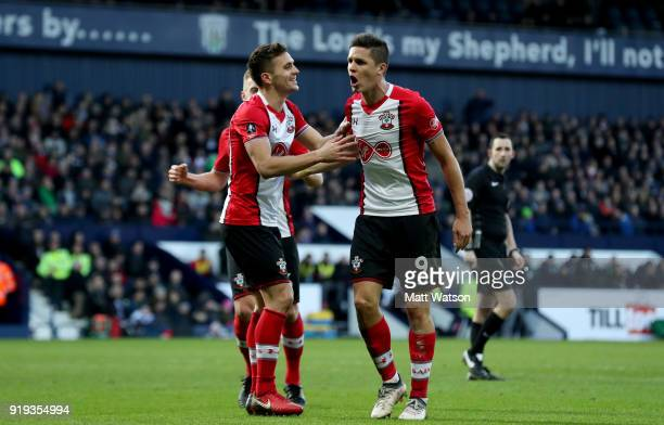 Dusan Tadic and Guido Carrillo of Southampton celebrate during the Emirates FA Cup fifth round match between West Bromwich Albion and Southampton at...