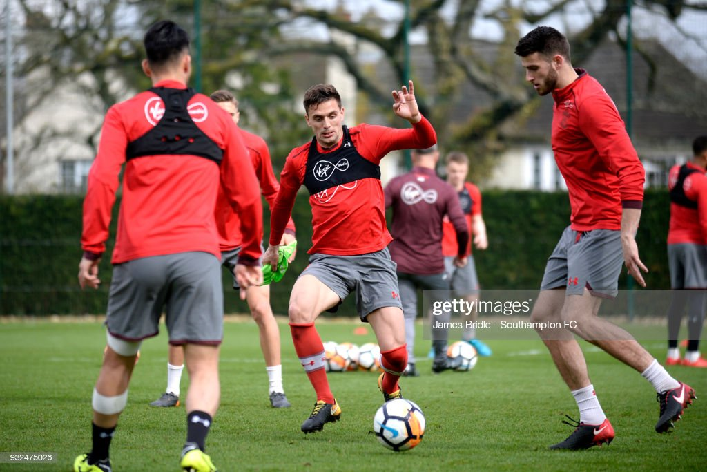Dusan Tadic (C) during a Southampton FC first team training at Staplewood Complex on March 15, 2018 in Southampton, England.