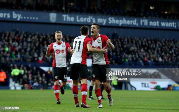 Dusan Tadic James WardProwse and Guido Carrillo of Southampton celebrate during the Emirates FA Cup fifth round match between West Bromwich Albion...