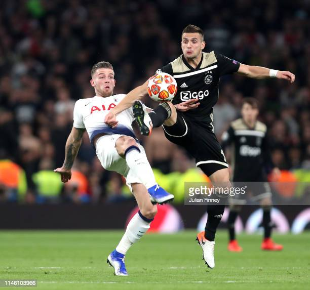 Dusan Tadic of Ajax and Toby Alderweireld of Tottenham Hotspur battle for the ball during the UEFA Champions League Semi Final first leg match...