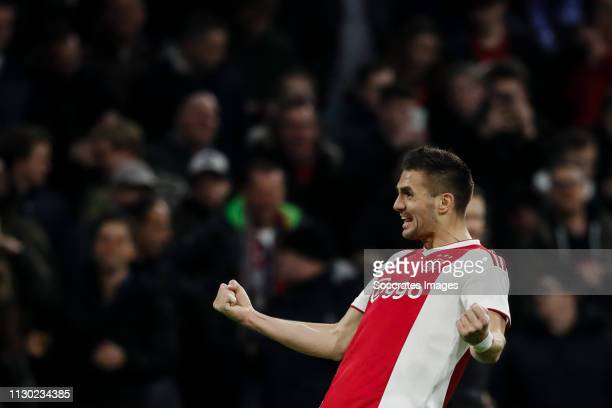 Dusan Tadic of Ajax, celebrate his goal the 1-0 during the Dutch Eredivisie match between Ajax v PEC Zwolle at the Johan Cruijff Arena on March 13,...