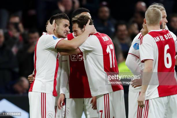 Dusan Tadic of Ajax, celebrate his goal the 1-0 with Daley Blind of Ajax during the Dutch Eredivisie match between Ajax v PEC Zwolle at the Johan...