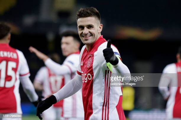 Dusan Tadic of Ajax Celebrates 0-2 during the UEFA Europa League match between BSC Young Boys v Ajax at the Stade de Suisse on March 18, 2021 in Bern...
