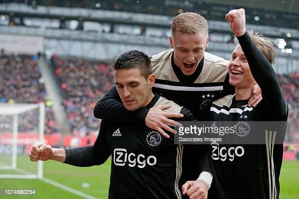 Dusan Tadic Of Ajax Celebrates 0-2 With Donny Van De Beek