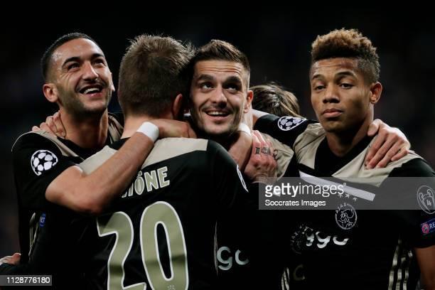 Dusan Tadic of Ajax celebrates 03 with Hakim Ziyech of Ajax Lasse Schone of Ajax David Neres of Ajax during the UEFA Champions League match between...