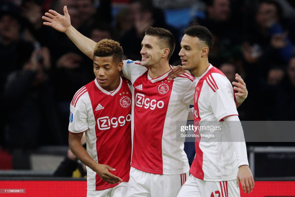 Dusan Tadic Of Ajax Celebrates 1-0 With Noussair Mazraoui