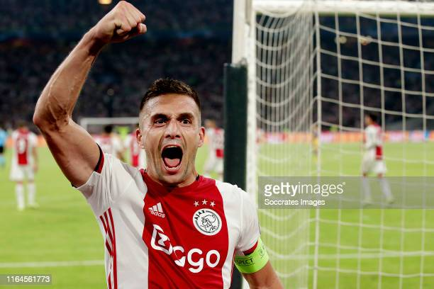 Dusan Tadic of Ajax celebrates 2-0 during the UEFA Champions League match between Ajax v Apoel Nicosia at the Johan Cruijff Arena on August 28, 2019...