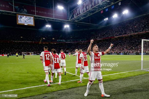 Dusan Tadic of Ajax celebrates 31 during the UEFA Champions League match between Ajax v PAOK Saloniki at the Johan Cruijff Arena on August 13 2019 in...