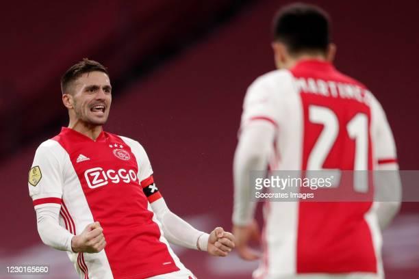 Dusan Tadic of Ajax celebrates 5-4 during the Dutch KNVB Beker match between Ajax v FC Utrecht at the Johan Cruijff Arena on December 16, 2020 in...