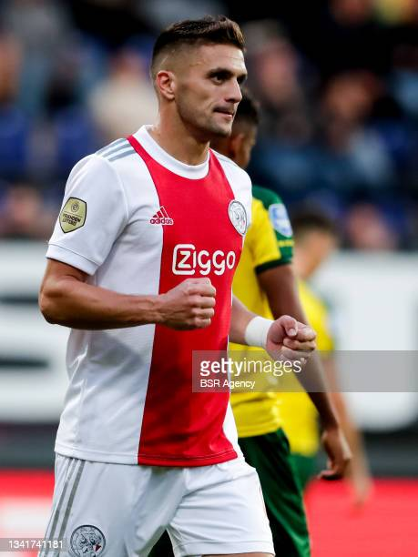Dusan Tadic of Ajax celebrates after scoring his sides third goal during the Dutch Eredivisie match between Fortuna Sittard and Ajax at Fortuna...
