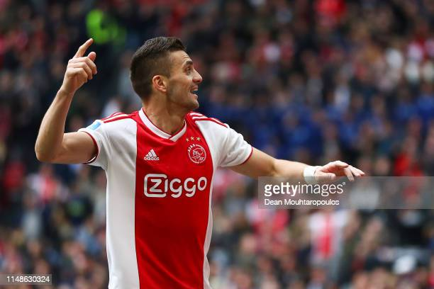 Dusan Tadic of Ajax celebrates after scoring his team's third goal during the Eredivisie match between Ajax and Utrecht at Johan Cruyff Arena on May...