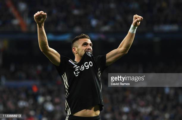 Dusan Tadic of Ajax celebrates as he scores his team's third goal during the UEFA Champions League Round of 16 Second Leg match between Real Madrid...
