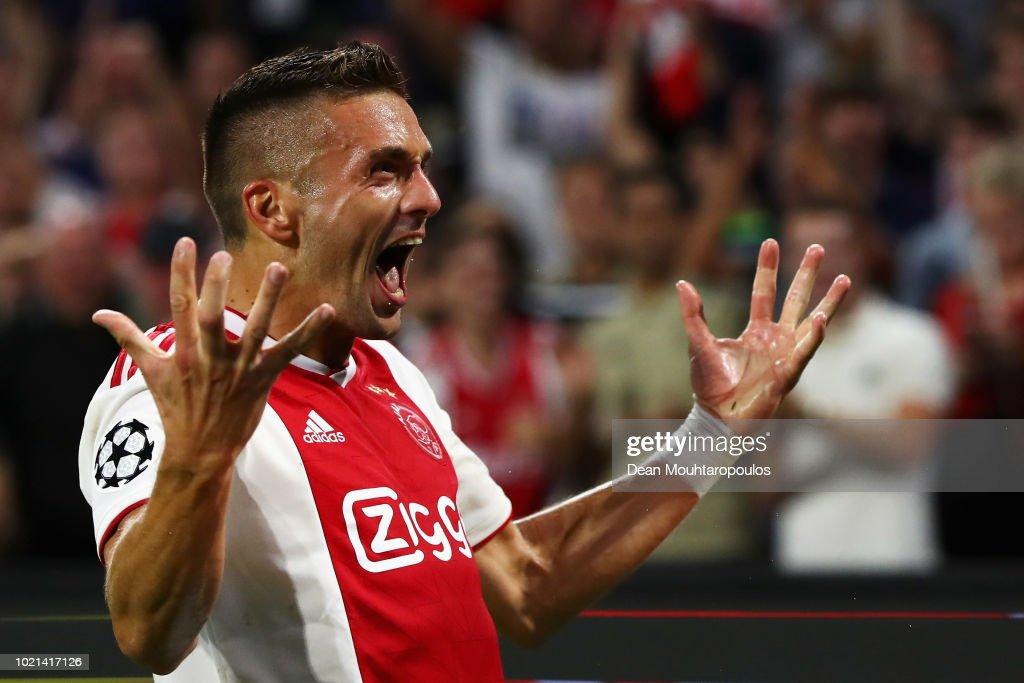 Dusan Tadic Of Ajax Celebrates Scoring His Teams Third