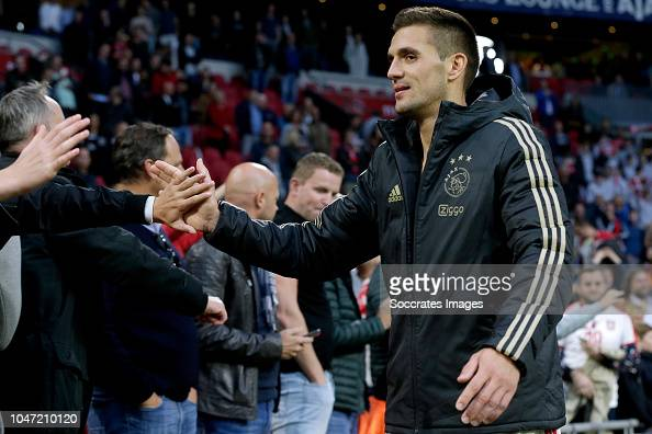 Dusan Tadic Of Ajax Celebrates The Victory With Supporters