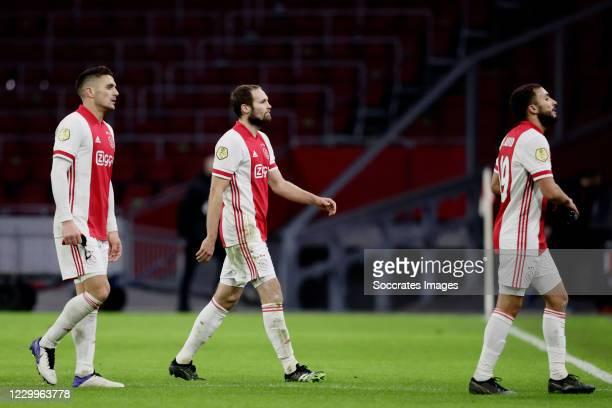 Dusan Tadic of Ajax, Daley Blind of Ajax,, Zakaria Labyad of Ajax during the Dutch Eredivisie match between Ajax v Fc Twente at the Johan Cruijff...